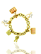 Louis Vuitton Padlock and Keys Love and Keepall Charm Bracelet 18k Yellow Gold N04204