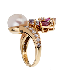 Bulgari Contraire Sapphire Diamond Yellow Gold Ring - Bulgari Jewelry