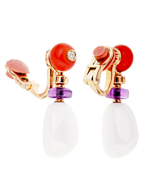 Bulgari Mediterranean Eden Coral Agate Diamond Rose Gold Earrings - Bulgari Jewelry