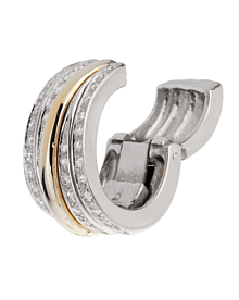 Pomellato Diamond Hoop Clip On Two Tone Gold Earrings - Pomellato Jewelry
