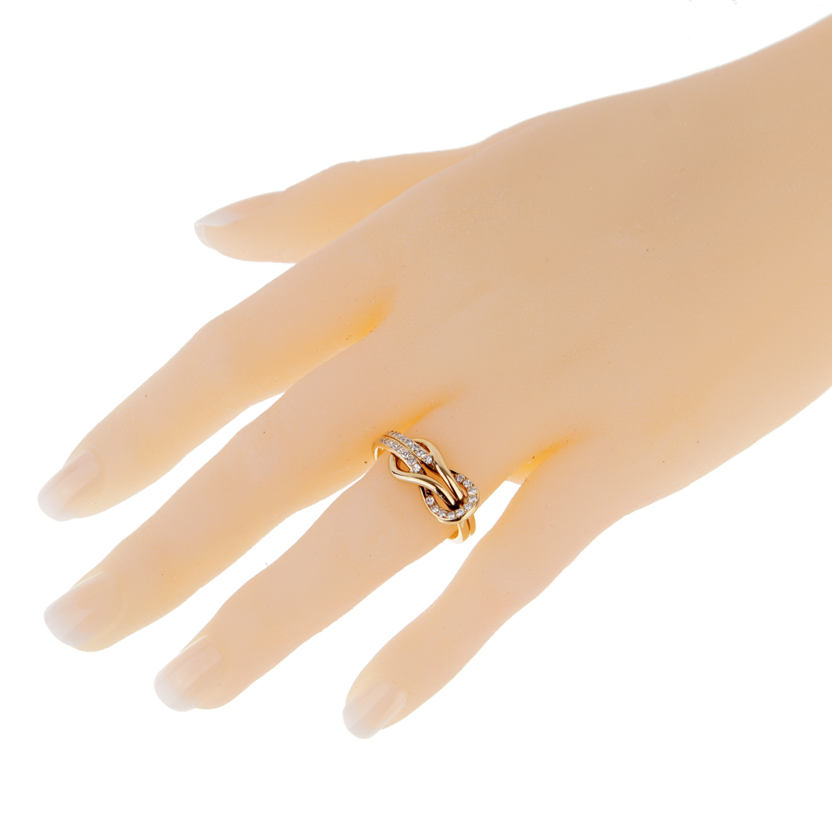 Cartier Love Knot Diamond Gold Ring For Sale