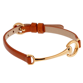 Ladies Rose Gold Brown Leather Horsebit Bracelet