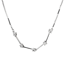 Banco Oro Diamond Line White Gold Necklace