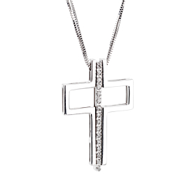 Bliss Diamond Cross White Gold Necklace