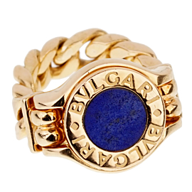 Bulgari Bulgari Lapis Chain Link Yellow Gold Ring
