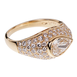 Bulgari Pear Shaped Diamond Yellow Gold Cocktail Ring