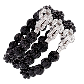 Cartier Carved Onyx Diamond Beaded White Gold Bracelet