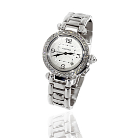 Cartier Pasha Diamond Watch in 18k White Gold WJ1116M9