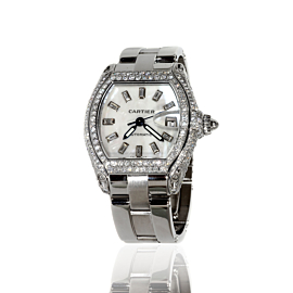 Mens Cartier Roadster Stainless Steel Diamond Watch