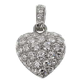 Cartier White Gold Diamond Heart Pendant Necklace