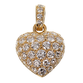 Cartier Yellow Gold Diamond Heart Pendant Necklace