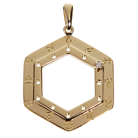Cartier Vintage Zodiac Diamond Yellow Gold Pendant Necklace
