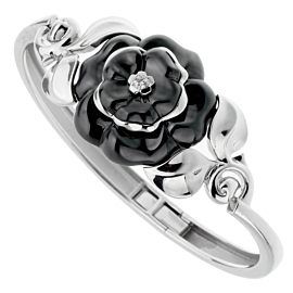 Chanel Camellia Onyx Diamond White Gold Bangle Bracelet