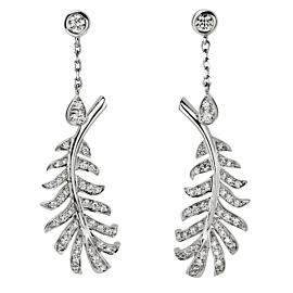 Chanel Plume Diamond Feather Drop White Gold Earrings