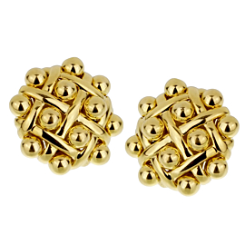 Chanel Vintage Quilted Yellow Gold Earrings