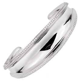 Chopard Imperiale Diamond White Gold Cuff Bangle Bracelet