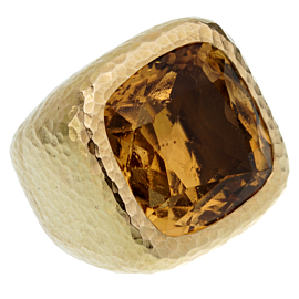 Dior Citrine Hammered Gold Cocktail Ring