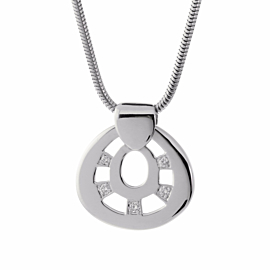 Hermes Diamond Pendant White Gold Necklace
