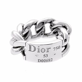 Dior White Gold Chain Gourmette Link Ring