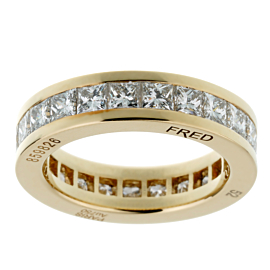 Fred of Paris Princess Cut Diamond Eternity Yellow Gold Ring