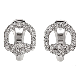 Gucci Horsebit Diamond White Gold Earrings