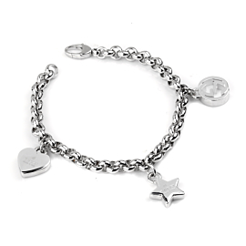 Gucci Charm Heart Star Double G Silver Bracelet