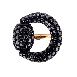 Gucci Black Diamond Horsebit Rose Gold Ring