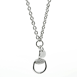 Gucci Horsebit Diamond White Gold Necklace