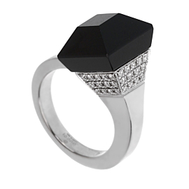 Gucci Chiodo Diamond White Gold Onyx Ring