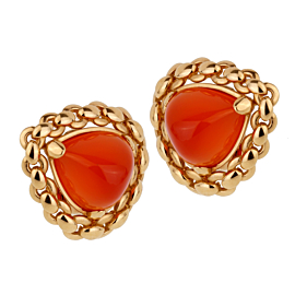 Hermes Vintage Sugarloaf Carnelian 18k Yellow Gold Clip On Earrings