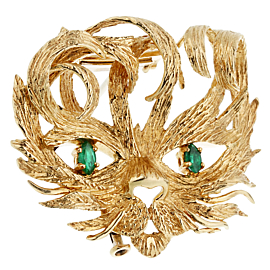 Hermes Mistigri Lion Cat Emerald Yellow Gold Brooch