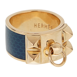 Hermes Collier De Chien Gold Blue Enamel Ring