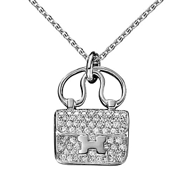 Hermes Constance Charm Diamond Pendant Necklace