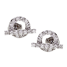 Hermes Diamond Stud 18k White Gold Earrings