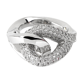 Hermes Twisted Pave Diamond Gold Ring