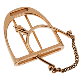Hermes 1960s' Stirrup Yellow Gold Brooch