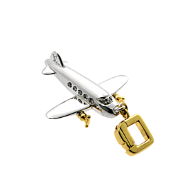Louis Vuitton Airplane Diamond Charm Gold Pendant