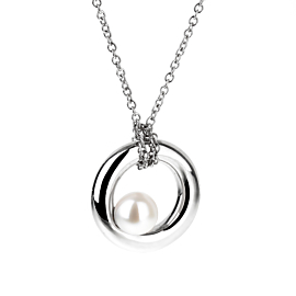 Mimi Milano Pearl White Gold Necklace