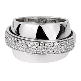 Piaget Possession Pave Diamond White Gold Ring Sz 5 3/4