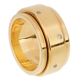 Piaget Possession Wide Yellow Gold Diamond Ring Sz 6 1/2