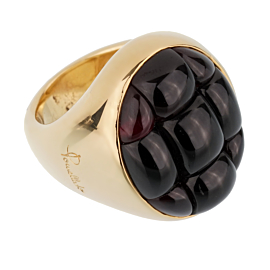 Pomellato 24 Carat Garnet Yellow Gold Cocktail Ring Sz 6.5