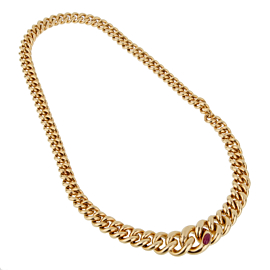 Pomellato Yellow Gold Ruby Chain Necklace