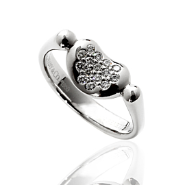 Tiffany & Co Elsa Peretti Diamond Platinum Bean Ring