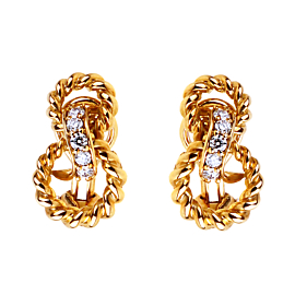 Tiffany & Co Braided Gold Diamond Earrings