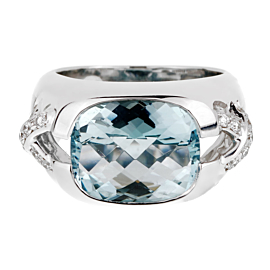 Tiffany & Co Aquamarine Diamond White Gold Ring