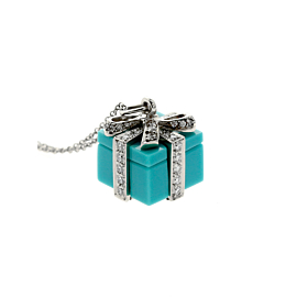 Tiffany & Co Turquoise Diamond Platinum Necklace