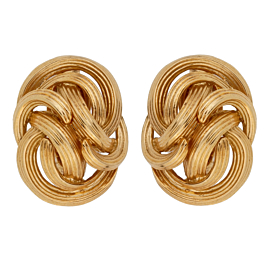 Tiffany & Co Braided 18k Yellow Gold Clip On Earrings