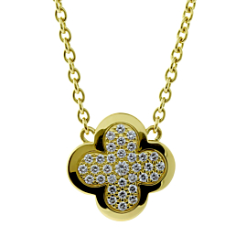 Van Cleef and Arpels Pure Alhambra Diamond Gold Necklace