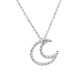 Zoccai Diamond Moon White Gold Necklace