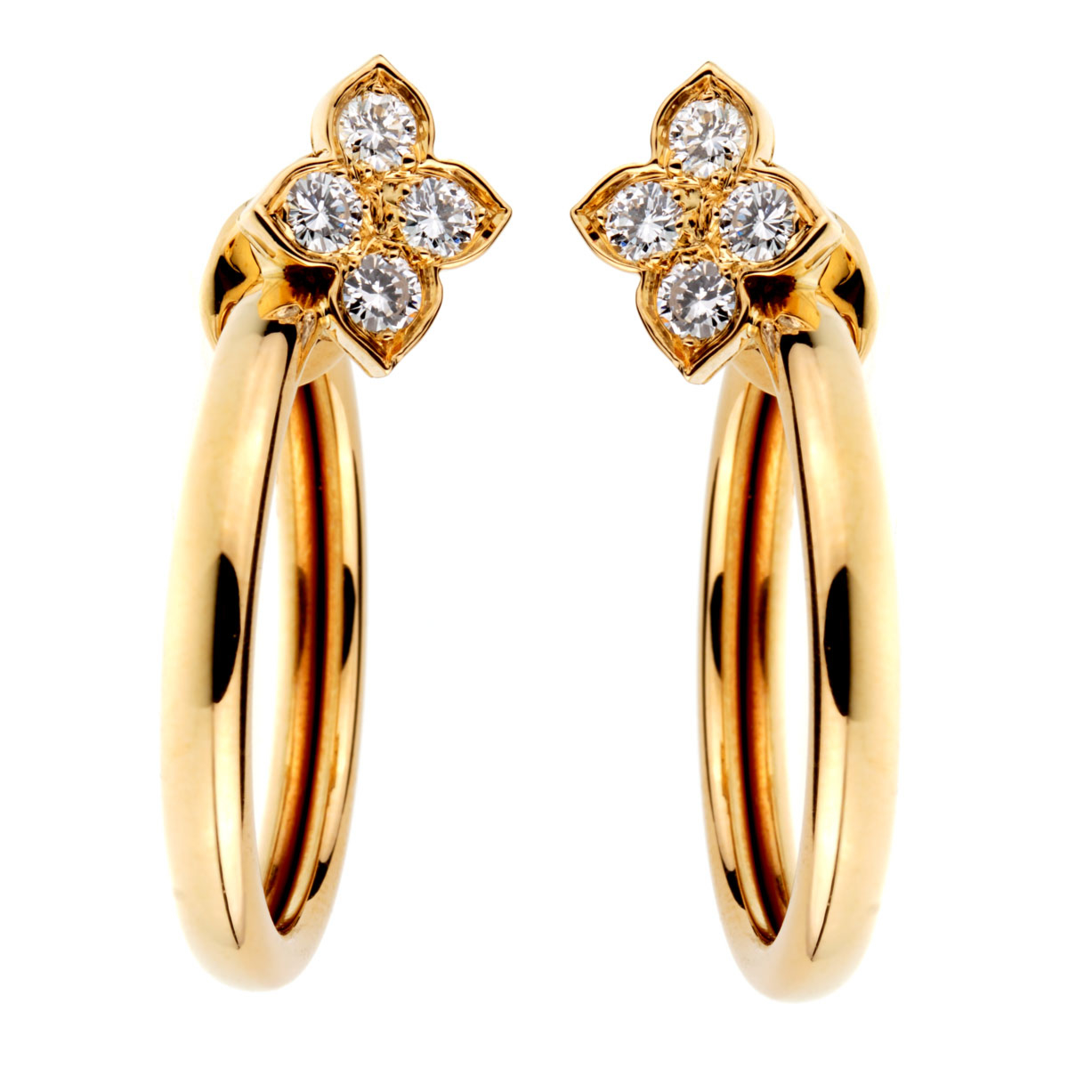 Cartier Flower Hoop Diamond 18kt Yellow Gold Earrings - Cartier Jewelry